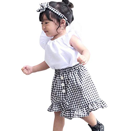 ♪ Vovotrade ♪ Set di Vestiti per Neonate Manica Corta Fly Top in Tinta Unita + Plaid Stampa Gonna Bottoni Abito a Strati 2 Pezzi Abiti per Bambini di Moda