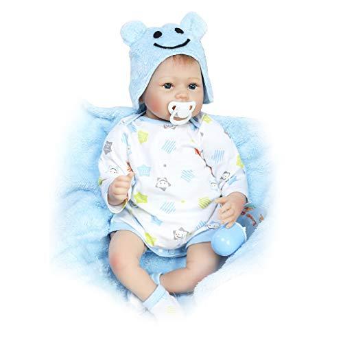 22 Zoll Wiedergeborene Puppe Blaue Augen Lebensechte Kinder Kinder Geschenke Schlaf Spielzeug Cartoon Floral Kleidung Nippel Flasche Mit Decke Weiche Silikon Vinyl Real Life Neugeborene Puppen