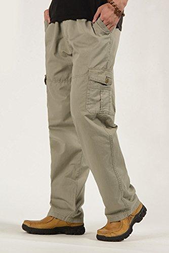 CardanWolf Herren Baumwolle Cargohose Vintage Freizeithose Lange Arbeitshose Elastisch Teillenband Männer Kampfhose Outdoor Trekkinghose Grau
