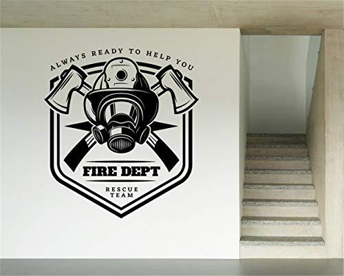 Vinyl Art Room Wandgemälde Poster Feuerwehrmann Emblem Risk Team Immer bereit, Ihnen zu helfen, Abwehr Rettungsmannschaft Maske und Äxte abzufeuern ()