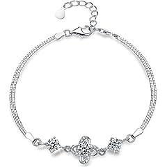 Idea Regalo - Bracciale in argento sterling 925, Quattro foglia con braccialetto di fascino di diamanti Presentski Regalo Della Festa Della Mamma