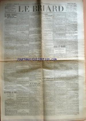 BRIARD (LE) [No 38] du 20/05/1908 - LA REACTION VICTORIEUSE PAR L'INDISCIPLINE DES REPUBLICAINS - A LILLE - A REIMS - A LYON - A GRENOBLE - A BORDEAUX - A TOURS - A AMIENS - A TROYES - DANS L'INDRE PAR GUERARD - VIN DE PROPRIETAIRE - L'HYPOTHEQUE ET LA CULTURE DANS LE CANTON DE PROVINS - UNE ENQUETE - LES PETITS PRODUCTEURS DE LAIT - LA SOCIETE NATIONALE D'AGRICULTURE EVALUE A 17 CENTIMES LE PRIX DE REVIENT DU LITRE DE LAIT - SEINE-ET-MARNE - PARTI SOCIALISTE (S. F. I. O