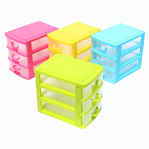 Kretix 3-Drawer Plastic Storage Box Case Desktop Drawer Organiser ( Multi Color )