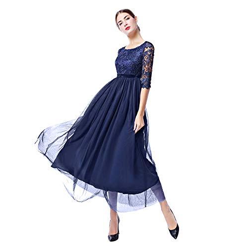 Damen Frauen Brautjungfernkleid Lang Abendkleider mit Spitze 2/3 Ärmel Brautkleid Partykleider...