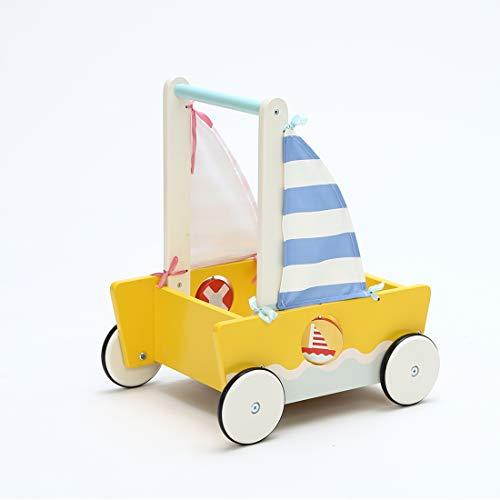 Chariot Enfant, 2-en-1 Utilisation Comme Trotteur Enfant, Trotteur Bois pour Voilier,Chariot de Marche pour 1 an et Plus, Coffre à Jouet Mobile Trotteur Bébé Fille/ Trotteur Pousseur Bébé Garçon
