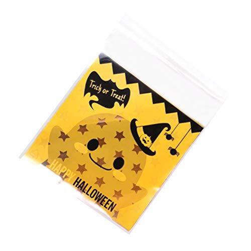 Selbstklebende lebensmittelverpackung Taschen Halloween kürbis behandeln Tasche für süßigkeiten Cookie bäckerei Party Paket liefert (10x10 cm) ()