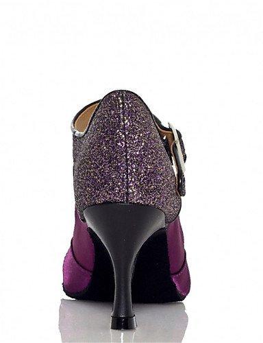 ShangYi Chaussures de danse(Noir / Violet / Ivoire) -Personnalisables-Talon Personnalisé-Satin / Paillette Brillante-Latine / Jazz / Salsa / Purple