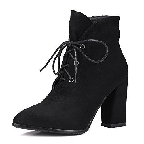 Tacco a punta spessa tacco scarpe da donna/Stivali da pioggia/ l'ex pizzo e stivali nudo-A Lunghezza piede=21.8CM(8.6Inch)