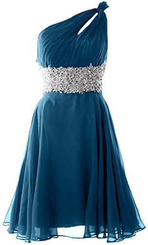 MACloth Women One Shoulder Chiffon Lace Cocktail Dress Short Prom Formal Gown Teal
