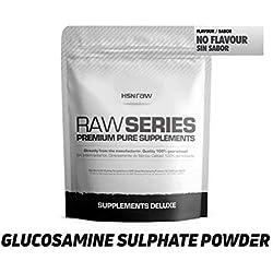 Sulfato de Glucosamina 2KCl en Polvo de HSN Raw - Salud, Mantenimiento y Regeneración de las Articulaciones - Apto para Veganos - Sin Aditivos, Máxima Pureza - Sin Gluten, Sin Lactosa - 150g