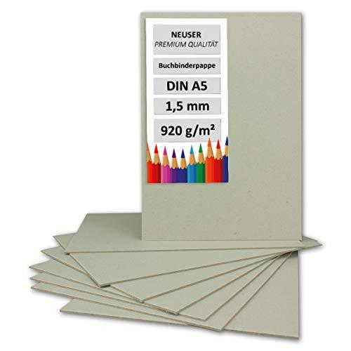 Neuser, cartone rigido per la rilegatura dei libri, formato A4 / A5 / A3 / C6 10 pezzi DIN A5 - 920 g/m²
