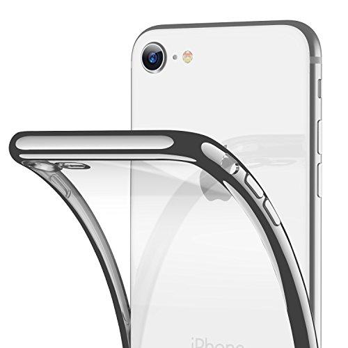 t iPhone 8/7 Hülle, Silikon TPU Soft Dünn Transparent Weich Flexibel Ultra Slim Durchsichtig Rücken + Schwarz Rahmen Stoßfest Case Schutzhülle Cover Handyhülle 4.7'', Silber ()