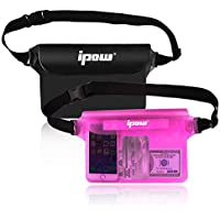 Ipow [2 PCS] Bolsa Impermeable Playa para iPhone, móvil, cámara, iPad, Efectivo, Archivos a Prueba de Agua (Negro + Rosa)