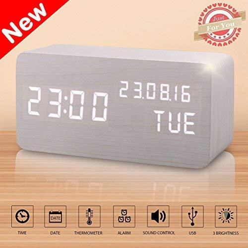 Sveglia Comodino Digitale Elettrica Legno LED Sveglie Digitali Orologio Tavolo Alarm Clock per Bambini con Temperatura e Funzione di Controllo Vocale (Bianco)