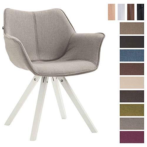 Clp sedia design soggiorno zack in tessuto – poltroncina moderna scandinavoa in legno di faggio i sedia salotto imbottita con braccioli i poltrona deco, seduta 45cm grigio bianco