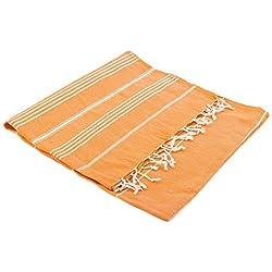 """Turkish Emporium Pestemal """"Sultan"""" toalla de baño toalla de baño toalla de baño con diseño de rayas y con flecos, naranja, 100 x 170 cm"""