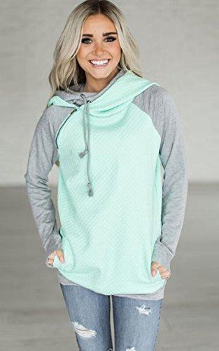 ECOWISH Damen Kontrastfarbe Pulli Pullover Rollkragen Sweatshirt Kapuzenpulli Top Hoodies Grün XL - 2