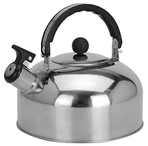 Trendkontor Camping Edelstahl Flötenkessel 2 Liter Kessel Wasserkocher Teekessel