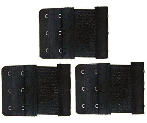 new-3pcs-black-colour-3-hooks-ladies-bra-extender-strap-underwear-strapless