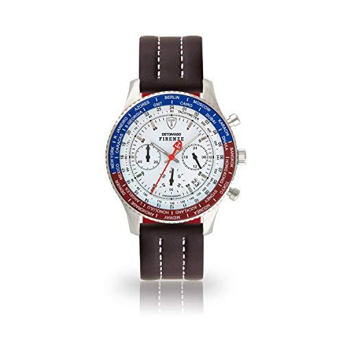 DETOMASO Firenze Herren-Armbanduhr Chronograph Analog Quarz silbernes Edelstahlgehäuse weißes Zifferblatt (Leder - Dunkelbraun (Naht: Weiß))