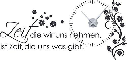 Graz Design 800391_SI_073 Wandtattoo Uhr Wanduhr mit Uhrwerk Zitat Zeit Wohnzimmer Blume (Uhr=Silber//Aufkleber=Dunkelgrau)