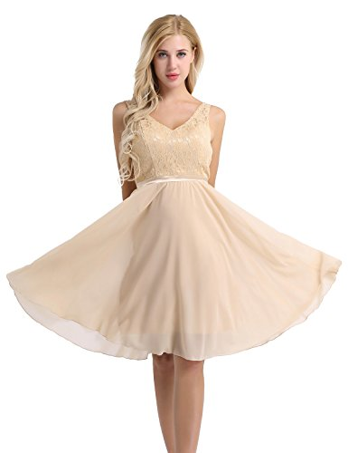 Feeshow Damen Ärmellos V-Ausschnitt Rückenfrei Blumen Spitze Chiffon Kleid festlich knielang Brautjungfer Cocktailkleid Party Abendkleid mit Träger Faltenrock Langes Kleid Champagne 36/38 (Satin-chiffon-kleid)