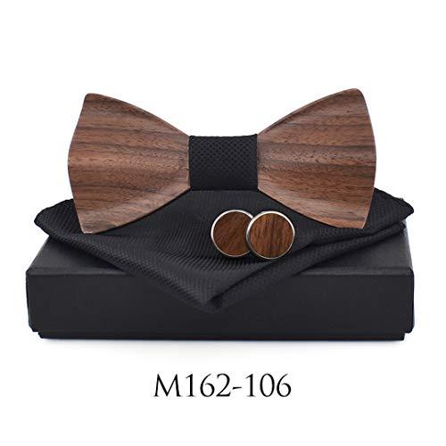 BILAIYASA 3D Holz Krawatte Pocekt Platz ManschettenknöPfe Mode Holz Fliege Hochzeit Dinne Handgemachte Holz Krawatten Set 162106 Gold Cummerbund-set