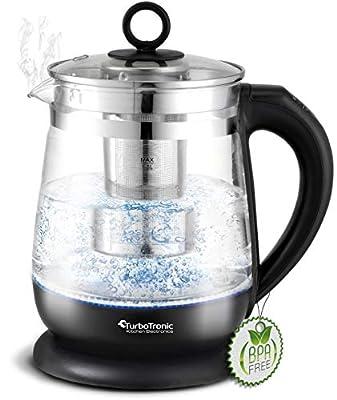 Bouilloire en verre 1,5L 100% sans plastique avec passoire à thé en acier inoxydable / sélection de température / réglage de température