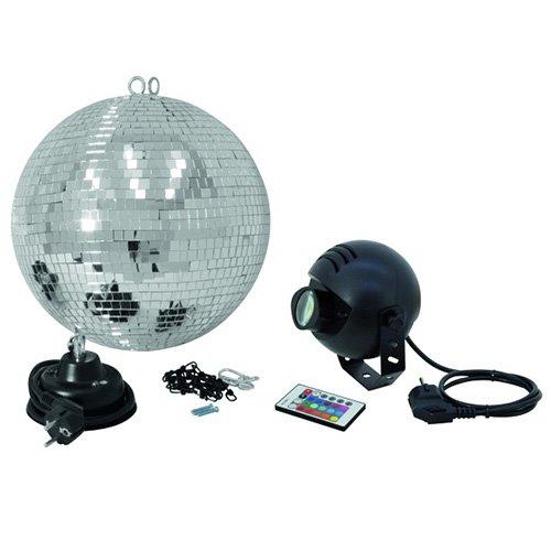 Eurolite 50101862 Spiegelkugelset (30 cm) mit FB RGB LED Spot Licht