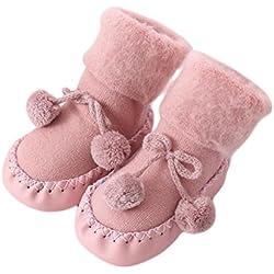 Calcetines para bebé, K-youth® Prewalkers zapatos antideslizantes Calcetines Bebé Anti-slip Calcetines Niños (Rosa, 6-12 meses)