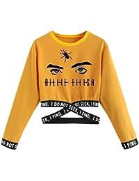 Camiseta Billie Eilish Niña, Camiseta Billie Eilish Chica Camisetas de Manga Larga Billie Eilish Mujer Impresión Manga Billie Eilish Impresión Regalo Camisa Otoño Camisetas y Tops