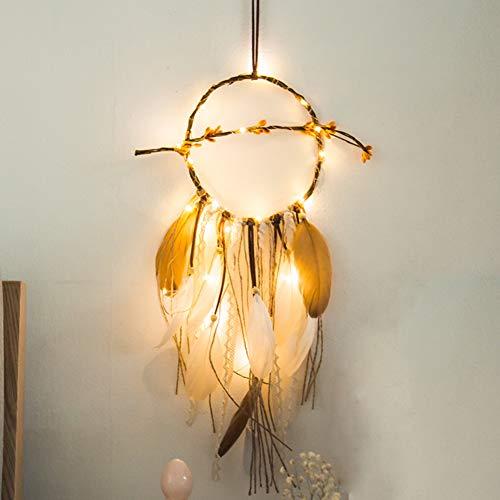 oobest Boho Feather Dream Catcher con Luces de Hadas LED Adorno Colgante de Pared Craft Gift Dreamcatcher