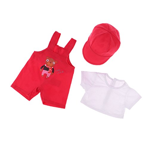 MagiDeal Mode Dreiteilige Puppenkleidung Anzug - T-Shirt + Hosenträger Hose + Kappe - Rot (American Girl Puppe Rotes T-shirt)