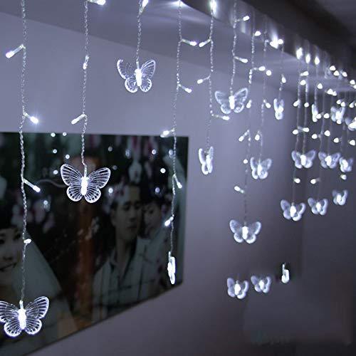 Hniunew Fensterdeko Led Laterne Schmetterling Lichterkette Fensterbeleuchtung Festival Weihnachten Fenster Dekoration Leuchtend Weihnachtenweihnachten FüR TüRen,Schaufenster, Vitrinen, Glasfronten