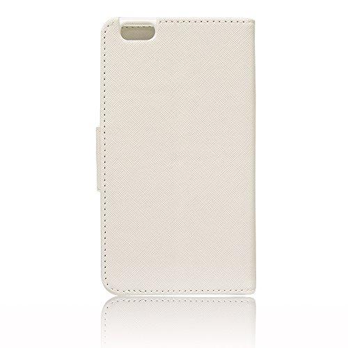 VCOMP® Kunststoff Handy Brieftasche mit Kartenfächer und Video-Standfunktion für Apple iPhone 6/ 6s + Großer Eingabestift - WEISS WEISS + Großer Eingabestift