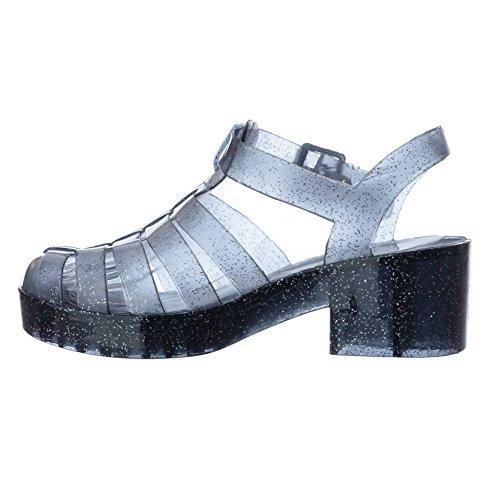 NUOVO, da Donna Chunky Tacco Spesso GLADIATORE plateau JELLY SANDALI SCARPE NUMERO Black Smoke Glitter / Buckle