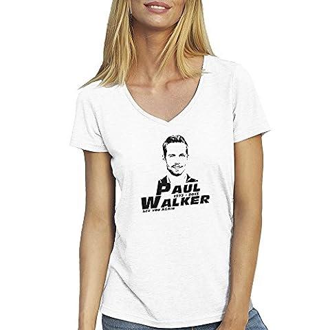 R.I.P. Paul Walker Face Blanc T-shirt Col V pour les femmes Large