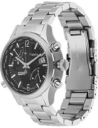 Timex Herren-Armbanduhr Iq Worldtime Ss Black Dial Analog Quarz One Size, schwarz, silber