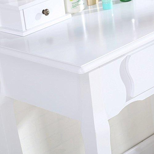 uenjoy schminktisch wei kosmetiktisch mit hocker spiegel 3 schubladen schminktische f r. Black Bedroom Furniture Sets. Home Design Ideas