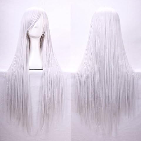 Mujeres Ladies Girls 80cm Plata Blanco Color de largo recto de Cosplay de la alta calidad del partido del Anime del traje Bangs completa Sexy