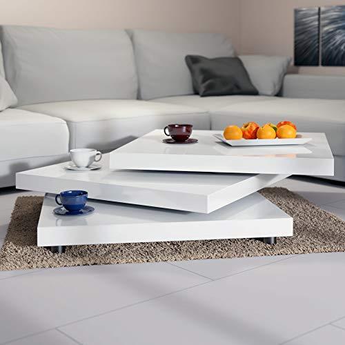 Deuba Mesa de Centro Moderna y Blanca| Mesita lacada Brillante 60 x 60 cm bandejas giratorias 360° Comedor salón Oficina