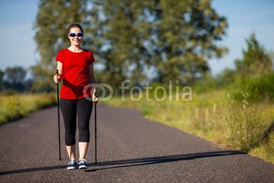 druck-shop24 Wunschmotiv: Nordic walking - active people working out in park #120163483 - Bild auf Leinwand - 3:2-60 x 40 cm/40 x 60 cm