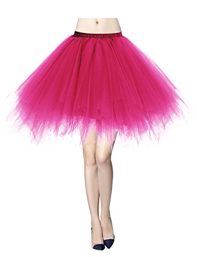 Gardenwed Tutu Damenrock Tüllrock 50er Kurz Ballet Tanzkleid Unterkleid Minirock Reifrock Unterrock Weihnachten Kleid Rose ()