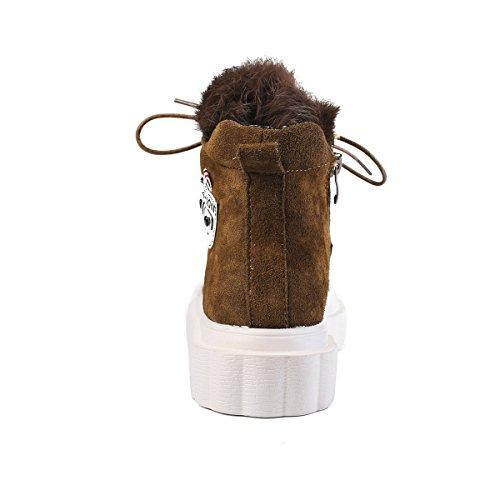 LFEU Chaussure de Ville pour Femme à Talon Compensé Botte Courte Lacets Sport en Salle Cuir Chaude Confortable 35-39 Brun