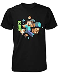 Official Minecraft - Runaway - Glow In The Dark Youth Black T Shirt