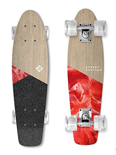 Street Surfing Wood Beach Board Skateboard Komplett 55,9 cm Cruiser Board aus Holz, kompakt, klein Glatte Räder, tragbar, Vintage-Board-Optik.