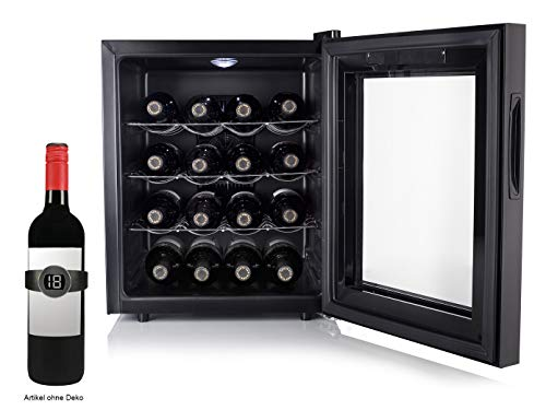 Kleiner WEINKÜHLSCHRANK für 16 Flaschen mit WEINTHERMOMETER - Weinklimaschrank 48 Liter, LED Anzeige & Touchfunktion