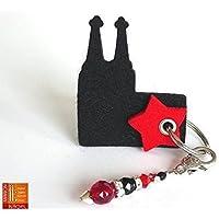 Schlüsselanhänger Kölner Dom mit Perlen~Anhänger in Schwarz/Rot, Geschenk, Weihnachten