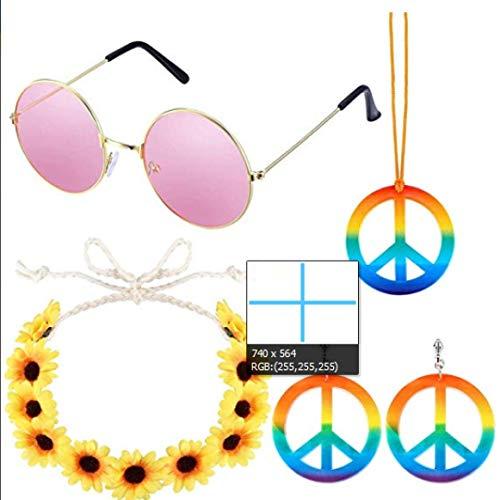 Themen Musik Party Kostüm - tirdds 5er-Pack Hippie-Kostüm-Set - 60er-Jahre-Kostüme Sonnenbrille Peace-Zeichen Halskette und Ohrringe, Sonnenblumenkrone Stirnband und Peace-Zeichen PU geflochtenes Armband in feinem Stil