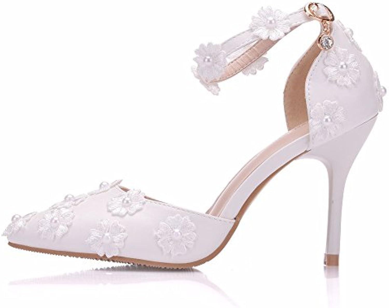 Women Es High Heels PU Spitze Mode Flachen Mund Spitze Stiletto Heels Sandalen Brautjungfer Schuhe Braut Hochzeitö